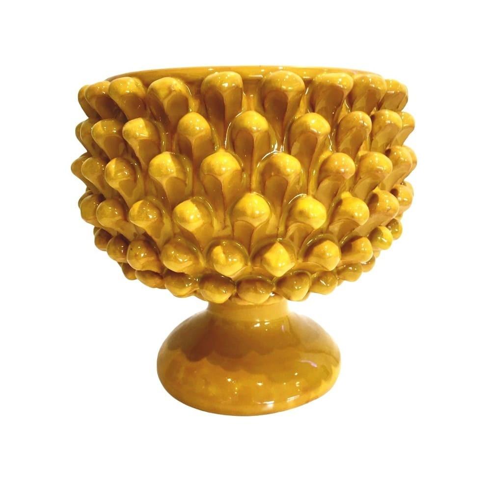 vaso giallo pigna Caltagirone
