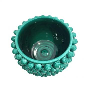 Caltagirone ceramic green pine cone vase