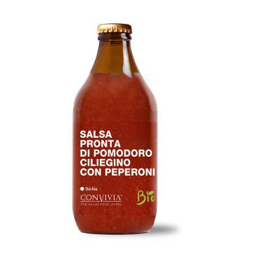Organic Ready-made cherry tomato sauce with peppers 330g