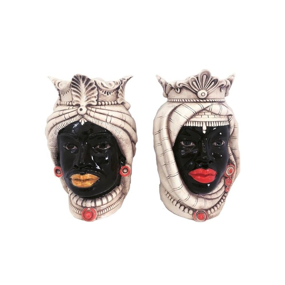 Frontal African couple Moor heads