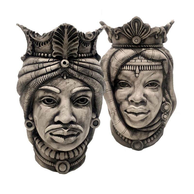 Pair of Moor's heads in Caltagirone ceramic