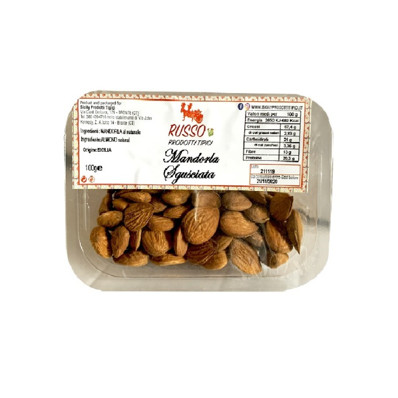 Shelled almonds from Sicily 100g-