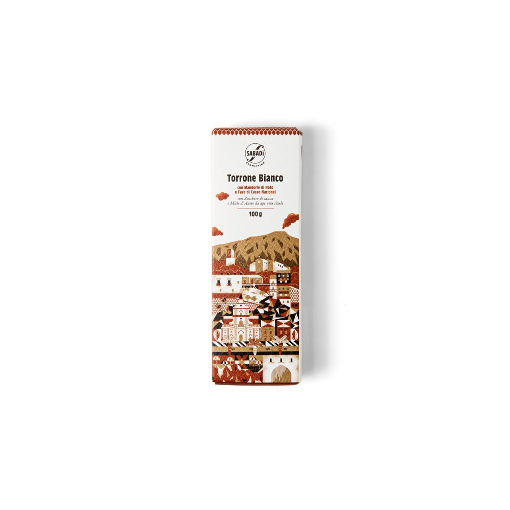 White nougat with Noto almonds and Nacional cocoa beans100g -
